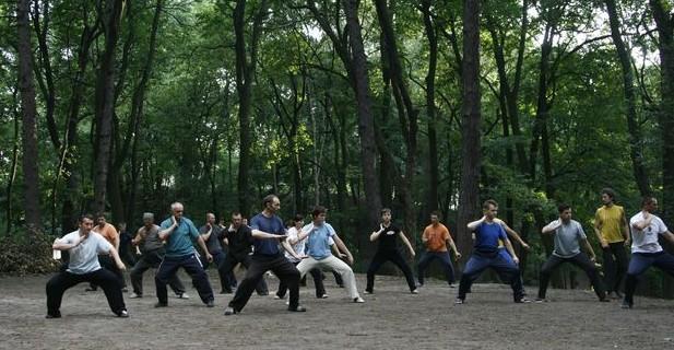 группа выполняет первую форму тайцзи-цюань